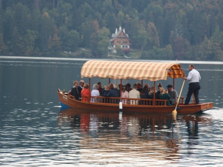 Pletna boat and our group